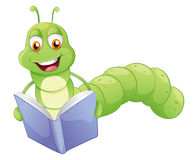 微笑的蠕虫读书 库存图片