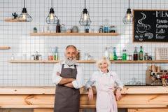 微笑的资深咖啡店所有者画象在站立在柜台的围裙的 免版税库存图片