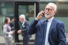 微笑的资深商人谈话在街道上的电话 免版税库存照片