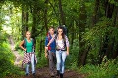 微笑的远足者在森林里 免版税库存图片
