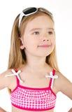 微笑的逗人喜爱的小女孩画象被隔绝 库存照片