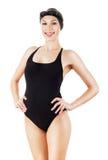 微笑的逗人喜爱的游泳者 免版税库存图片