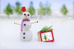 微笑的雪人和圣诞节装饰在期间的森林里降雪 Xmas和新年童话背景 免版税库存照片