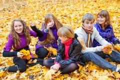 微笑的青少年的小组 免版税库存图片