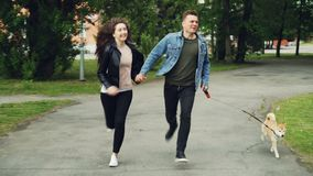 微笑的青年人丈夫和妻子在有享受活动和握的逗人喜爱的狗的公园跑手 股票录像