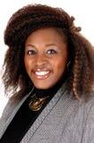 微笑的非洲妇女的画象 免版税库存照片