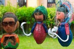 微笑的面孔椰子由与一种叶茂盛发型的绿色藤长大在泰国 库存图片