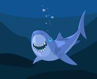 微笑的鲨鱼,动画片传染媒介 免版税图库摄影