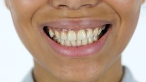微笑的黑人妇女嘴唇 影视素材