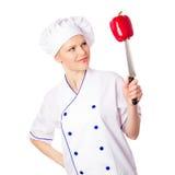 微笑的年轻厨师 免版税库存照片