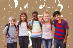 微笑的综合图象一点学校在学校走廊哄骗 免版税库存图片