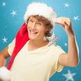 微笑的年轻圣诞老人 库存照片