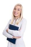微笑的年轻女实业家画象白色b的 免版税库存图片
