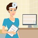 微笑的医生耳鼻喉科医师在实验室里 免版税库存照片