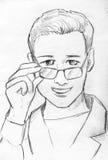 微笑的年轻医生铅笔剪影 库存照片