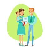 微笑的People Holding Insurance Contract, Insurance Company为Infographic例证服务 库存图片