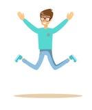 微笑英俊的人跳跃和 免版税库存图片