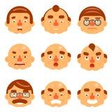 微笑设置了具体化情感愉快的惊奇的髭恼怒的成人字符标志企业象被隔绝的白色背景 库存照片