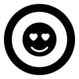 微笑象在圈子的黑色颜色 皇族释放例证