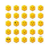微笑象设置与另外面孔 向量 库存照片