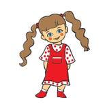 微笑逗人喜爱的女婴,圆点礼服的, T石牌逗人喜爱的女婴 免版税库存图片