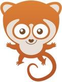 微笑逗人喜爱的小的狐猴张开它的胳膊和恶作剧地 免版税库存图片