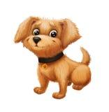 微笑逗人喜爱的愉快的矮小的毛茸的小狗-坐和摇摆尾巴的动画片动物字符吉祥人 库存图片