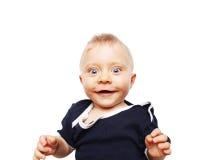 微笑逗人喜爱的男婴-七个月 免版税图库摄影