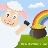 微笑逗人喜爱的绵羊和贺卡 库存图片