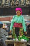 微笑,在老东范market的少数族裔女孩 库存照片