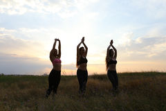 微笑年轻体育的女孩摆在和,执行舞蹈移动和pos 库存图片