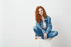 微笑年轻美丽的红头发人的女孩看照相机坐在白色背景的箱子 复制空间 库存照片