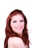 微笑20纵向的红头发人某事妇女 免版税库存照片