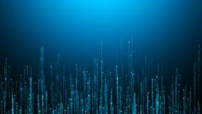 微粒蓝色发光的背景计算机图表上升的条纹  皇族释放例证