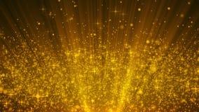 微粒金子闪烁奖拂去使成环的抽象背景的灰尘 库存例证