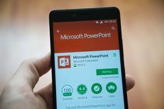 微软办公系统powerpoint应用在谷歌戏剧商店 库存照片