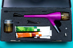 微马达牙齿磨光器成套工具 免版税库存图片