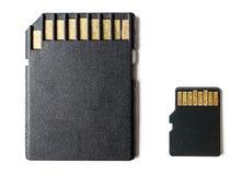 微SD卡片和适配器 库存照片