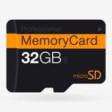 微SD顶视图  在白色的存储卡 库存图片