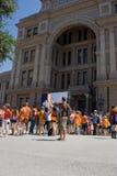 德克萨斯的选择前的抗议者 库存照片