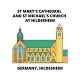 德国、希尔德斯海姆,圣玛丽` s大教堂和圣迈克尔` s教会在希尔德斯海姆排行象概念,平的传染媒介标志 向量例证