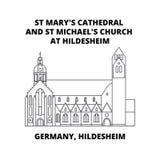 德国、希尔德斯海姆,圣玛丽` s大教堂和圣迈克尔` s教会在希尔德斯海姆排行象概念 德国, Hildeshei 皇族释放例证