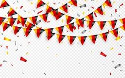 德国下垂与五彩纸屑,德国国庆节庆祝模板横幅的吊旗布的诗歌选白色背景,导航不适 皇族释放例证