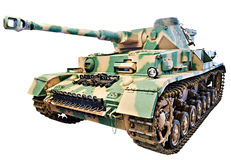 德国中型油箱PzKpfw IV;Panzer IV被隔绝的白色 免版税库存照片