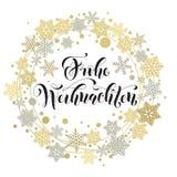 德国人圣诞快乐文本 Weihnachten贺卡 免版税库存图片