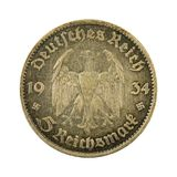 5德国人德国马克硬币1934正面 库存图片