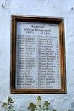 德国人民的文件在西伯利亚丧生或递解了,在村庄Viscri,特兰西瓦尼亚 免版税库存照片