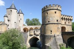 德国人门或Porte des Allemands用法语从13世纪在梅茨 免版税库存图片