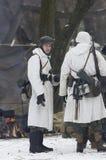德国人Wehrmacht战士当班在冬天伪装 免版税库存图片