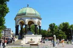 德国喷泉在苏丹Ahmet广场,伊斯坦布尔,土耳其 库存照片